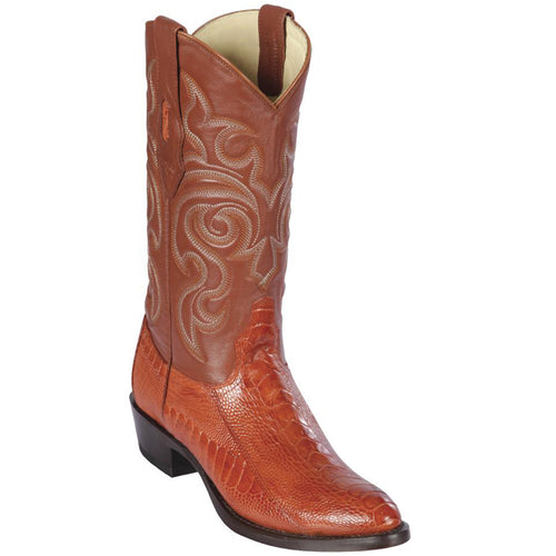 Los Altos Men's Cognac Ostrich Leg J-Toe Cowboy Boot