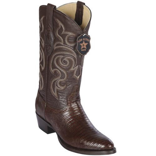 Los Altos Lizard Teju R-Toe Brown Cowboy Boots