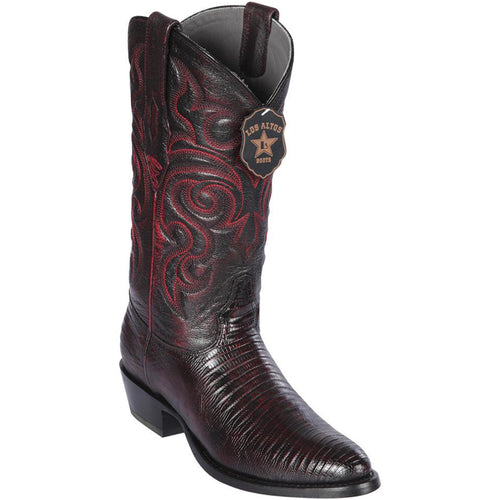 Los Altos Lizard Teju R-Toe Black Cherry Cowboy Boots