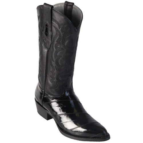 Los Altos Men's Eel Black R-Toe Cowboy Boots