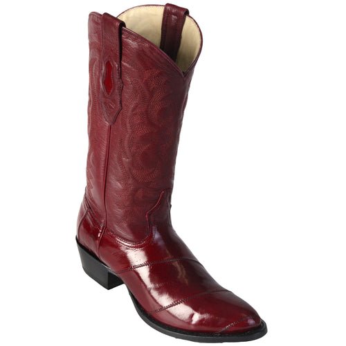 Los Altos Men's Eel Burgundy R-Toe Cowboy Boots