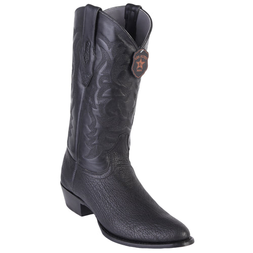 Los Altos Shark R-Toe Black Cowboy Boots