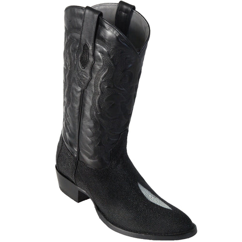 Los Altos Single Stone Stingray R-Toe Black Cowboy Boots