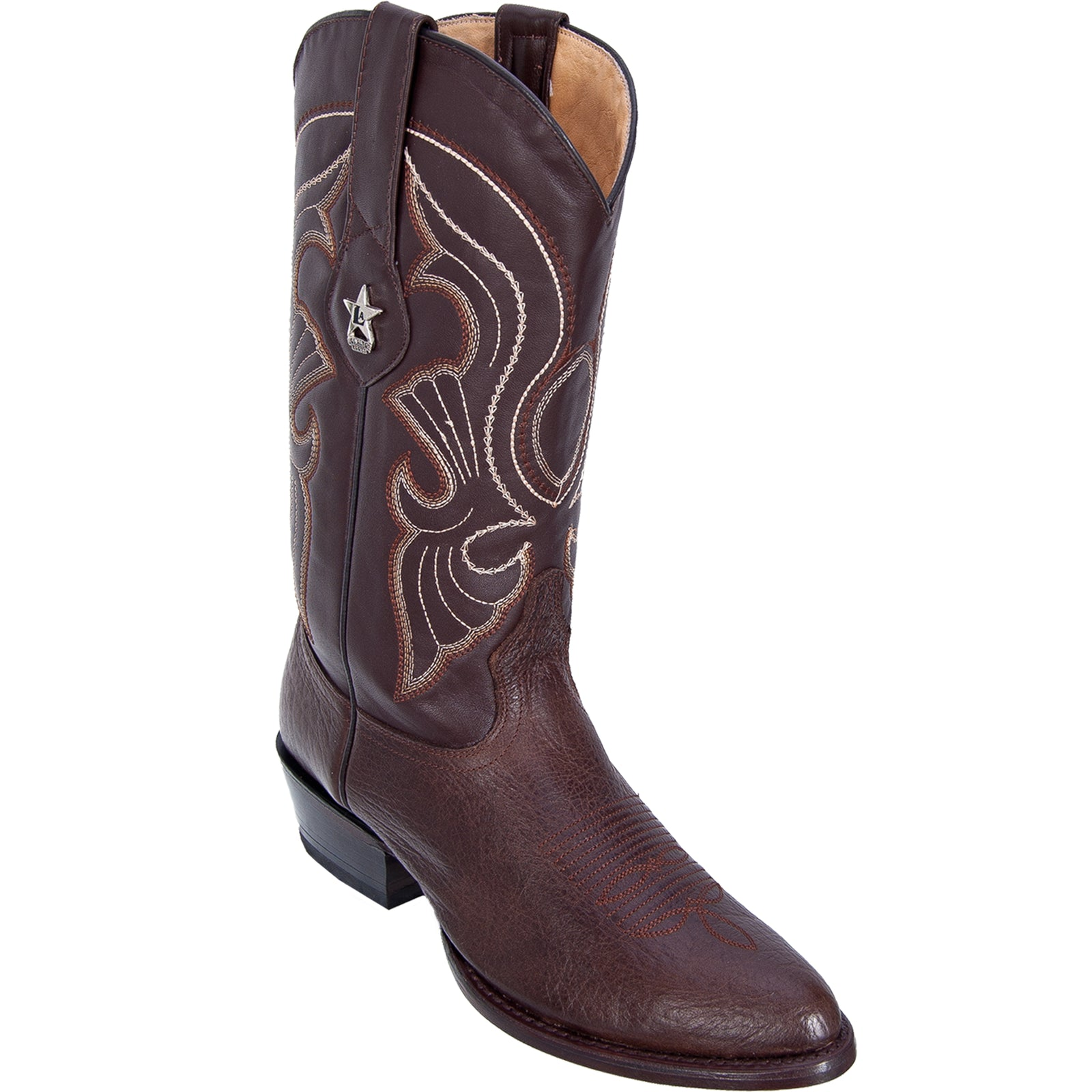 Los Altos Men's Bull Shoulder Brown R-Toe Cowboy Boots