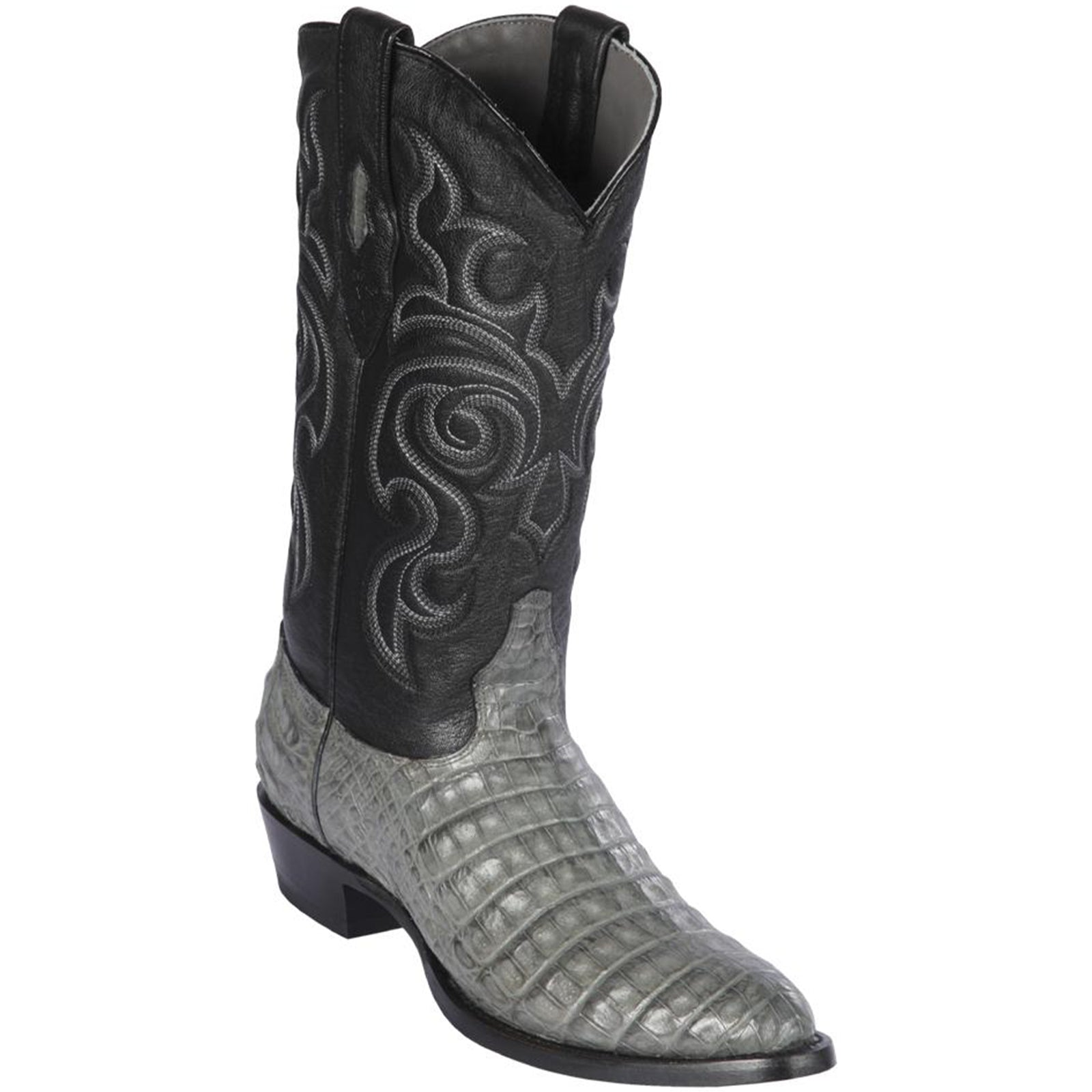 Los Altos Men S Gray Caiman Belly Cowboy Boots Round Toe
