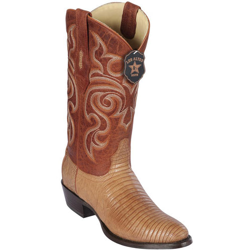 Los Altos Lizard Teju R-Toe Greasy Finish Cognac Cowboy Boots