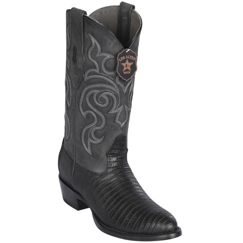 Los Altos Lizard Teju R-Toe Greasy Finish Black Cowboy Boots