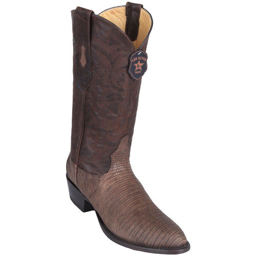 Los Altos Lizard Teju R-Toe Greasy Finish Brown Cowboy Boots