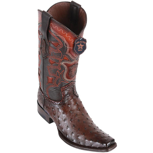 Los Altos Men's Ostrich European Toe Western Boots - Faded Brown