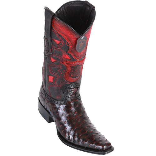 Los Altos Men's Ostrich European Toe Western Boots - Black Cherry