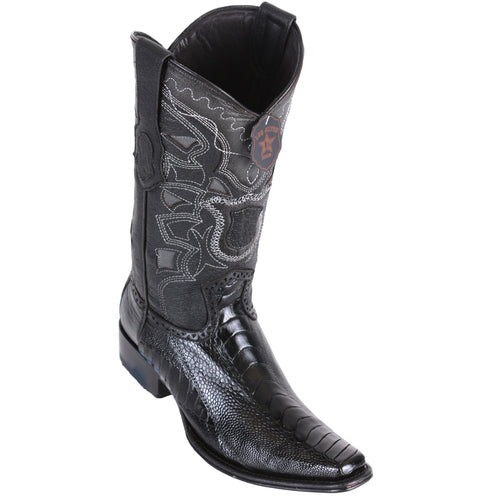 Los Altos Men's Ostrich Leg European Toe Black Western Boots