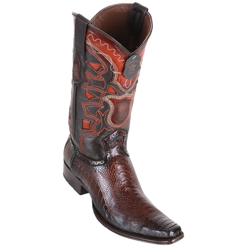 Los Altos Men's Ostrich Leg Faded Brown European Toe Cowboy Boots