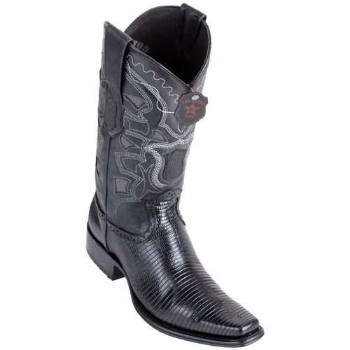 Los Altos Men's Lizard Teju European Toe Black Cowboy Boots