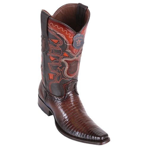 Los Altos Men's Lizard Teju European Toe Cowboy Boots - Faded Brown