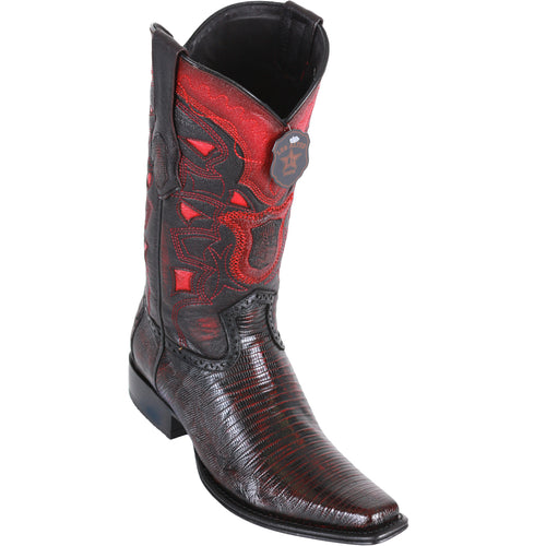 Los Altos Men's Lizard Teju European Toe Cowboy Boots - Black Cherry