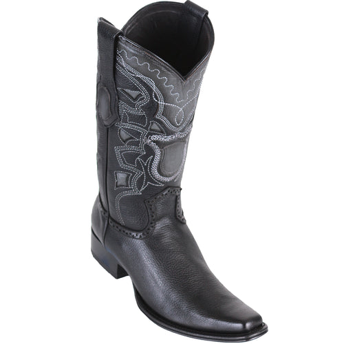 Los Altos Men's Grisly European Toe Cowboy Boots - Black