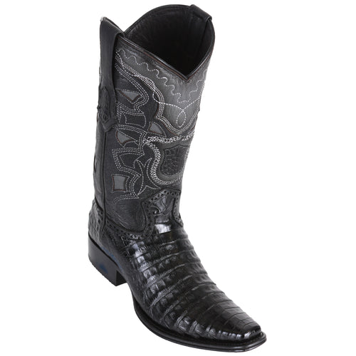 Los Altos Men's Caiman Belly Black European Toe Cowboy Boots