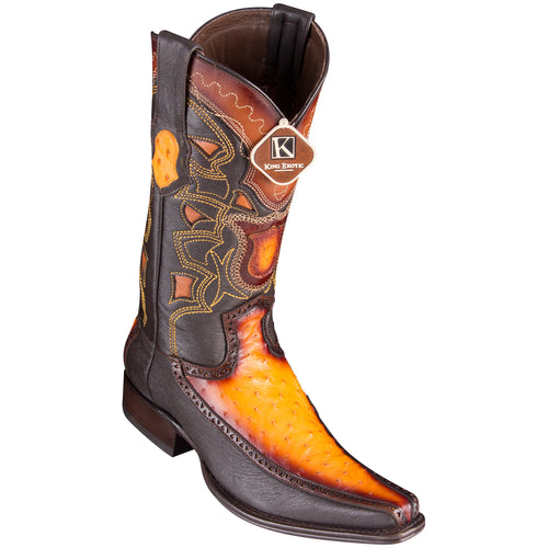King Exotic Men's Ostrich Faded Buttercup Cowboy Boots - H76 European Toe