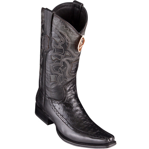King Exotic Men's Ostrich Black Cowboy Boots - H76 European Toe