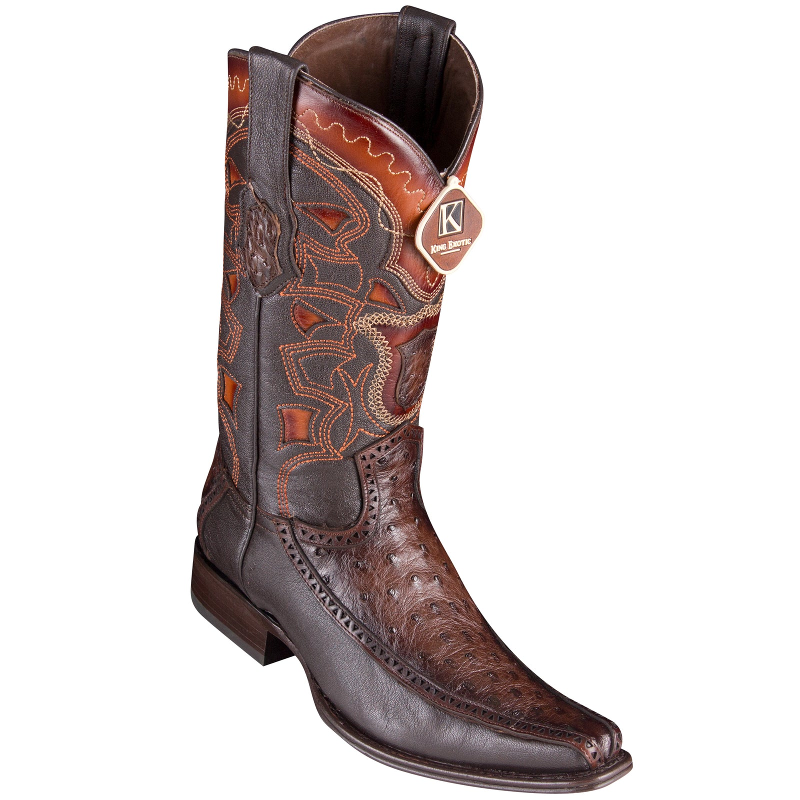 0513b0fd8f2 King Exotic Men's Ostrich Faded Brown Cowboy Boots - H76 European Toe