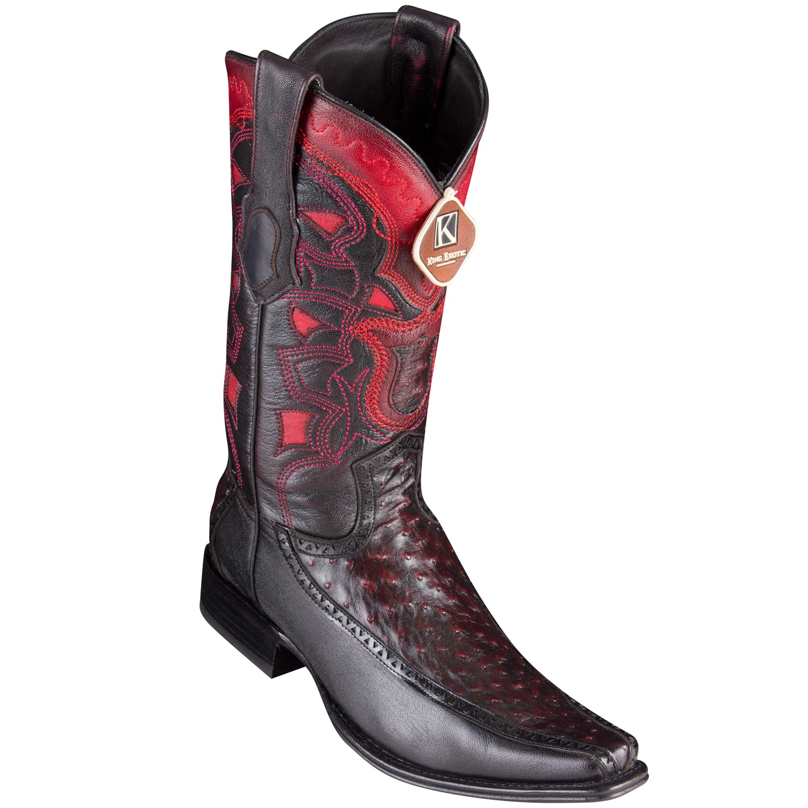 King Exotic Men's Ostrich Black Cherry Cowboy Boots - H76 European Toe