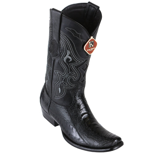 King Exotic Men's Ostrich Leg Black Cowboy Boots - H79 Dubai Toe