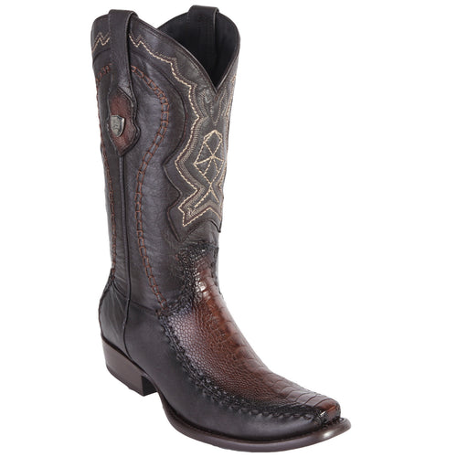 Wild West Men's Ostrich Leg Stitched Urban Toe Boots