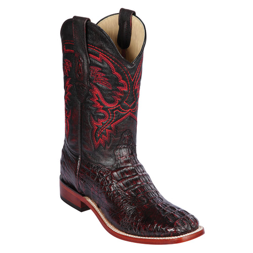 Los Altos Caiman Horn-Back Square Toe Cowboy Boots.
