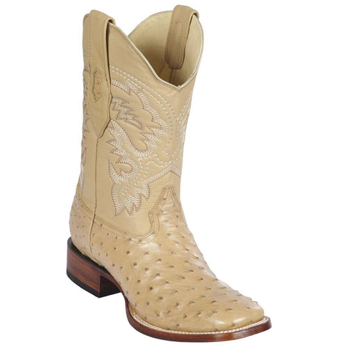 Los Altos Men's Ostrich Wide Square Boots - Oryx
