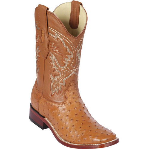 Los Altos Men's Honey Wide Square Toe Ostrich Cowboy Boots