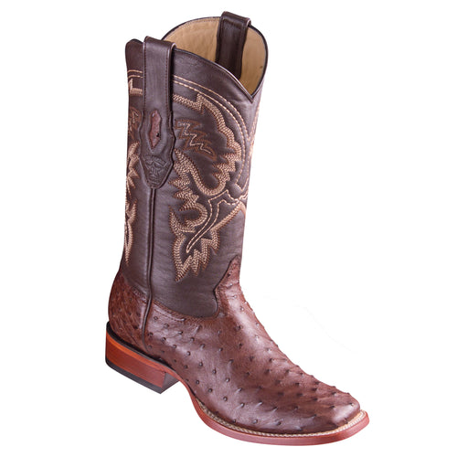 Los Altos Ostrich Wide Square Boots - Tabacco