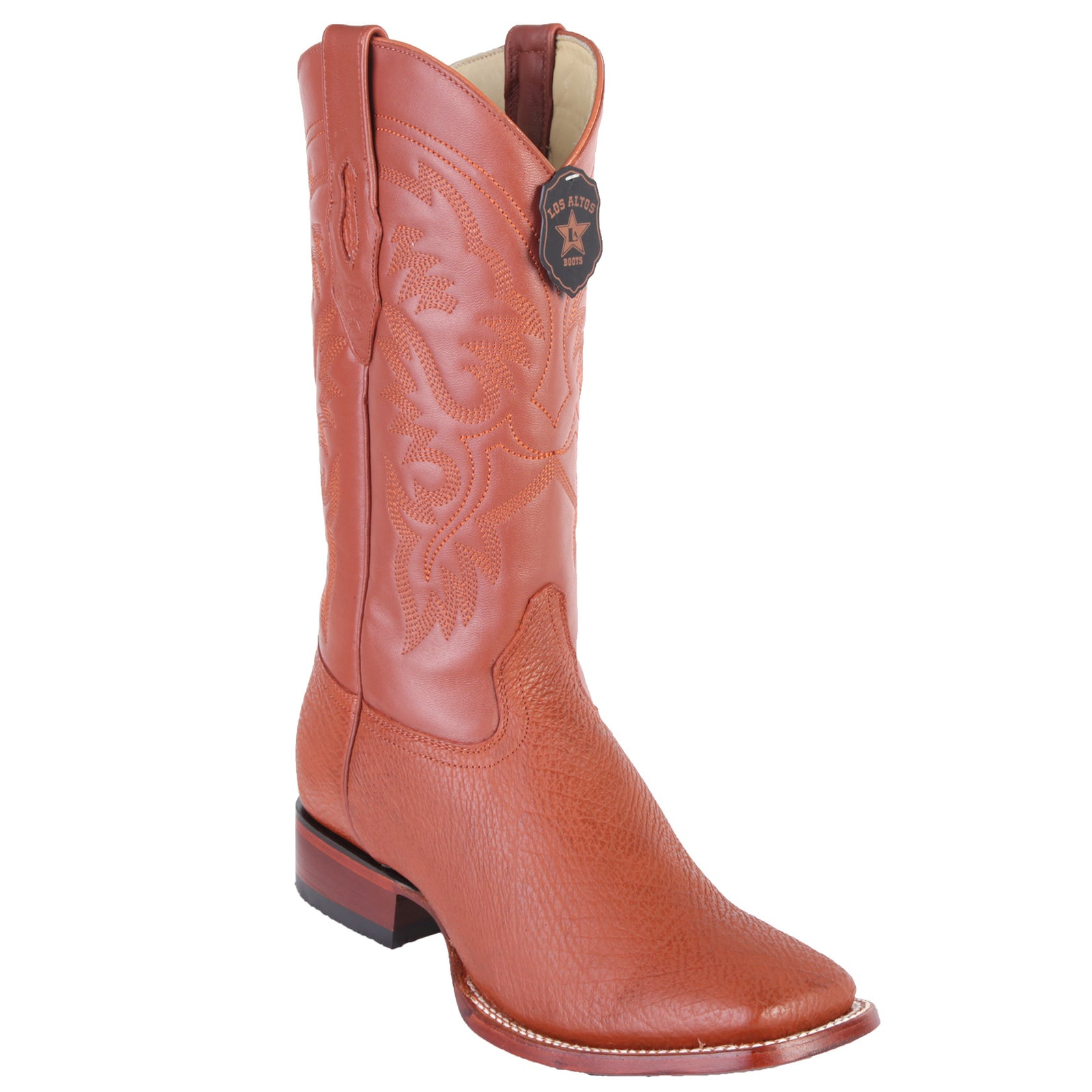 Los Altos Men's Cognac Shark Wide Square Toe Boots
