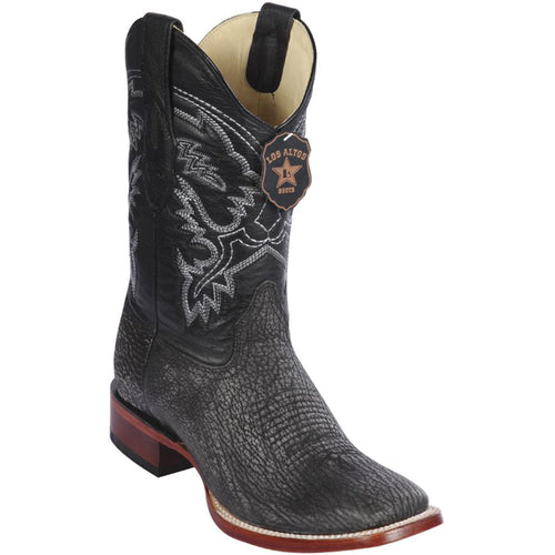 Los Altos Men's Black Shark Wide Square Toe Boots