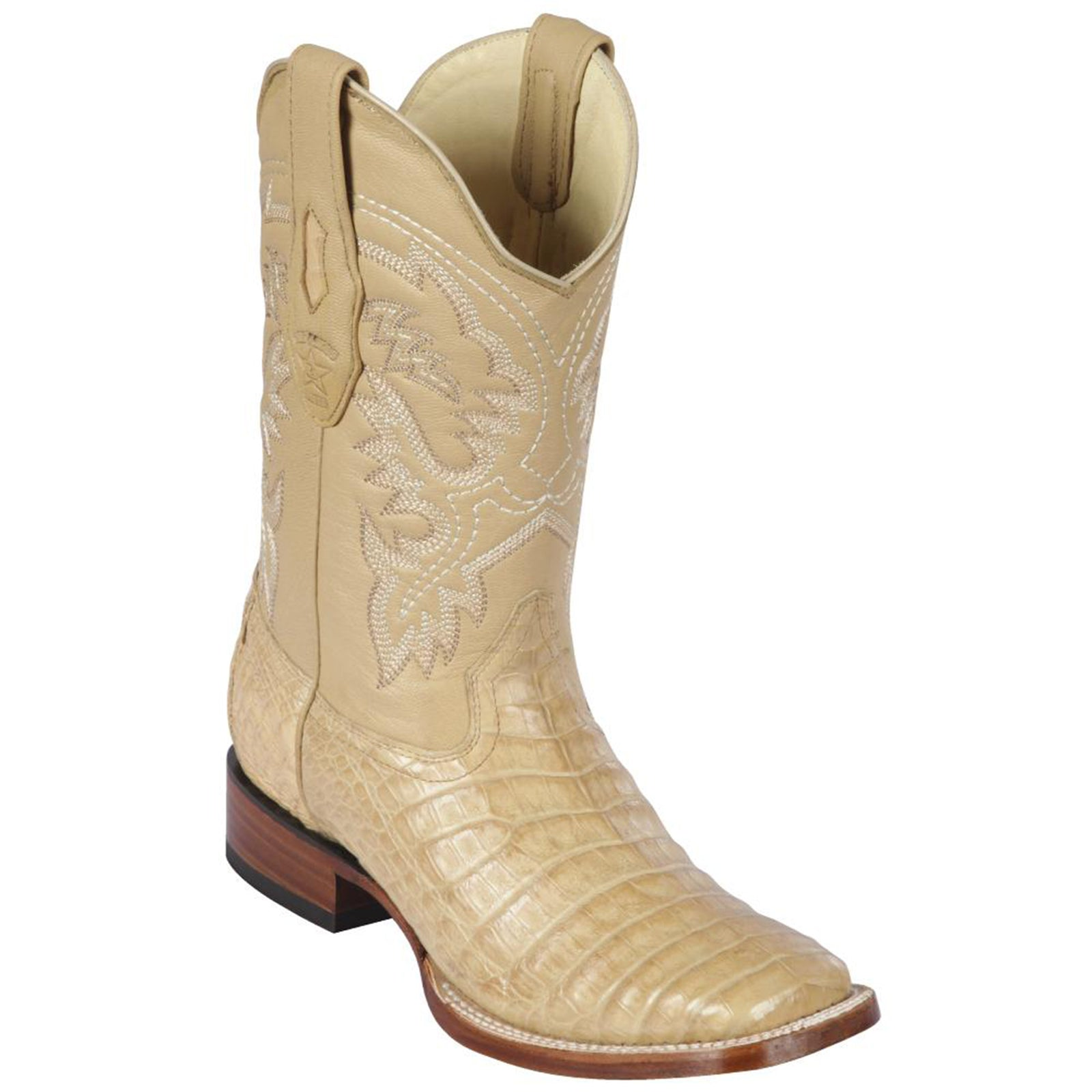 Los Altos Caiman Belly Sand Square Toe Boots