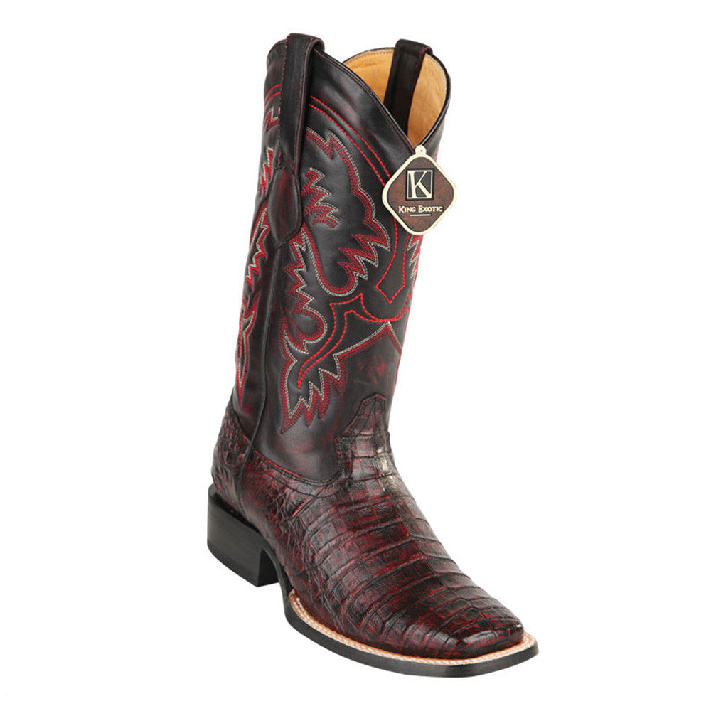 King Exotic Men's Caiman Belly Square Toe Cowboy Boot - VaqueroBoots.com - 3