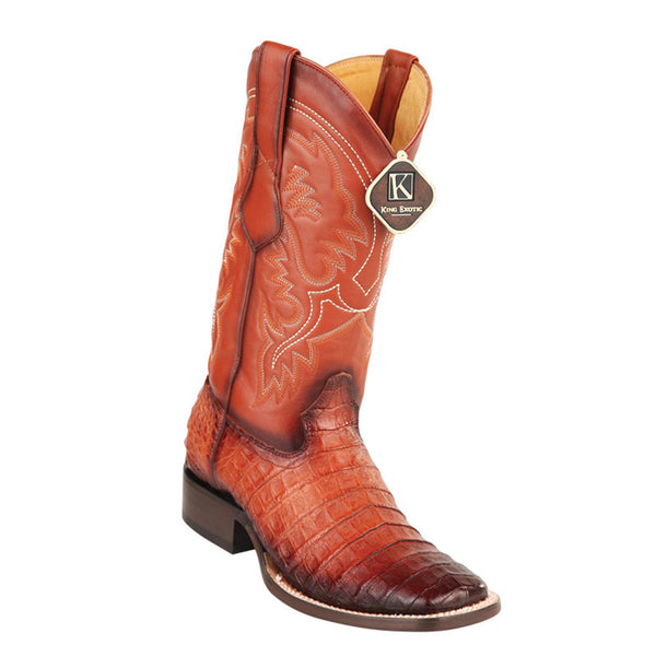King Exotic Men's Caiman Belly Square Toe Cowboy Boot - VaqueroBoots.com - 1