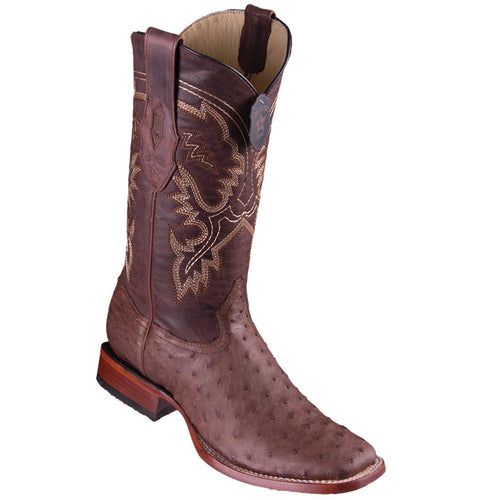 Los Altos Men's Ostrich Wide Square Boots - Brown Greasy Finish