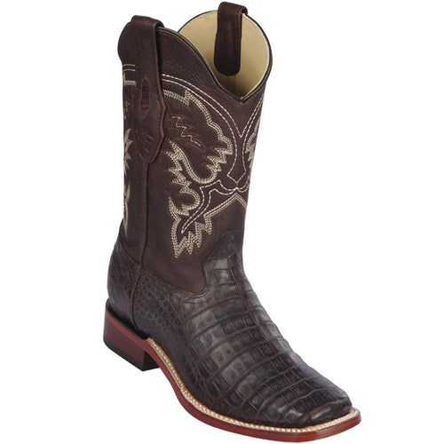 Los Altos Caiman Belly Wide Square Toe Cowboy Boots - Brown Grease Finish