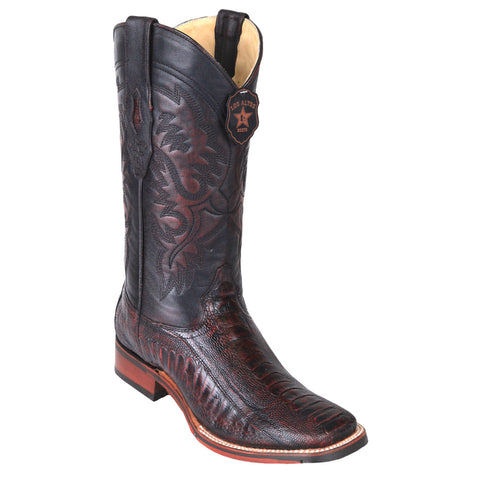 Los Altos Men's Ostrich Leg Square Toe Cowboy Boots