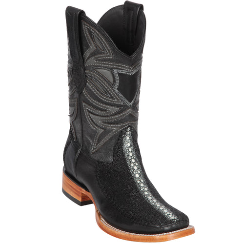 Details about  /Mens Black Cowboy Boots Stingray Print Leather Rodeo Row Stone Rounded Toe Botas