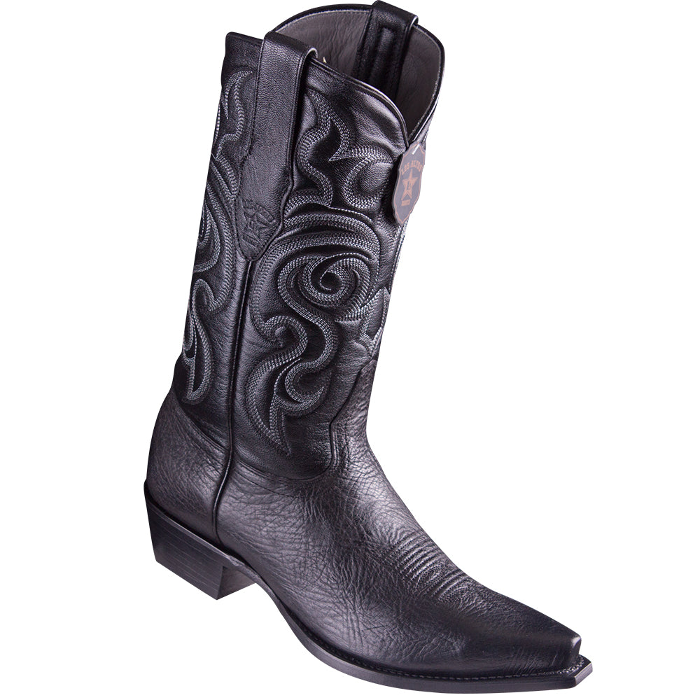 Los Altos Men's Bull Shoulder Black Snip Toe Cowboy Boots