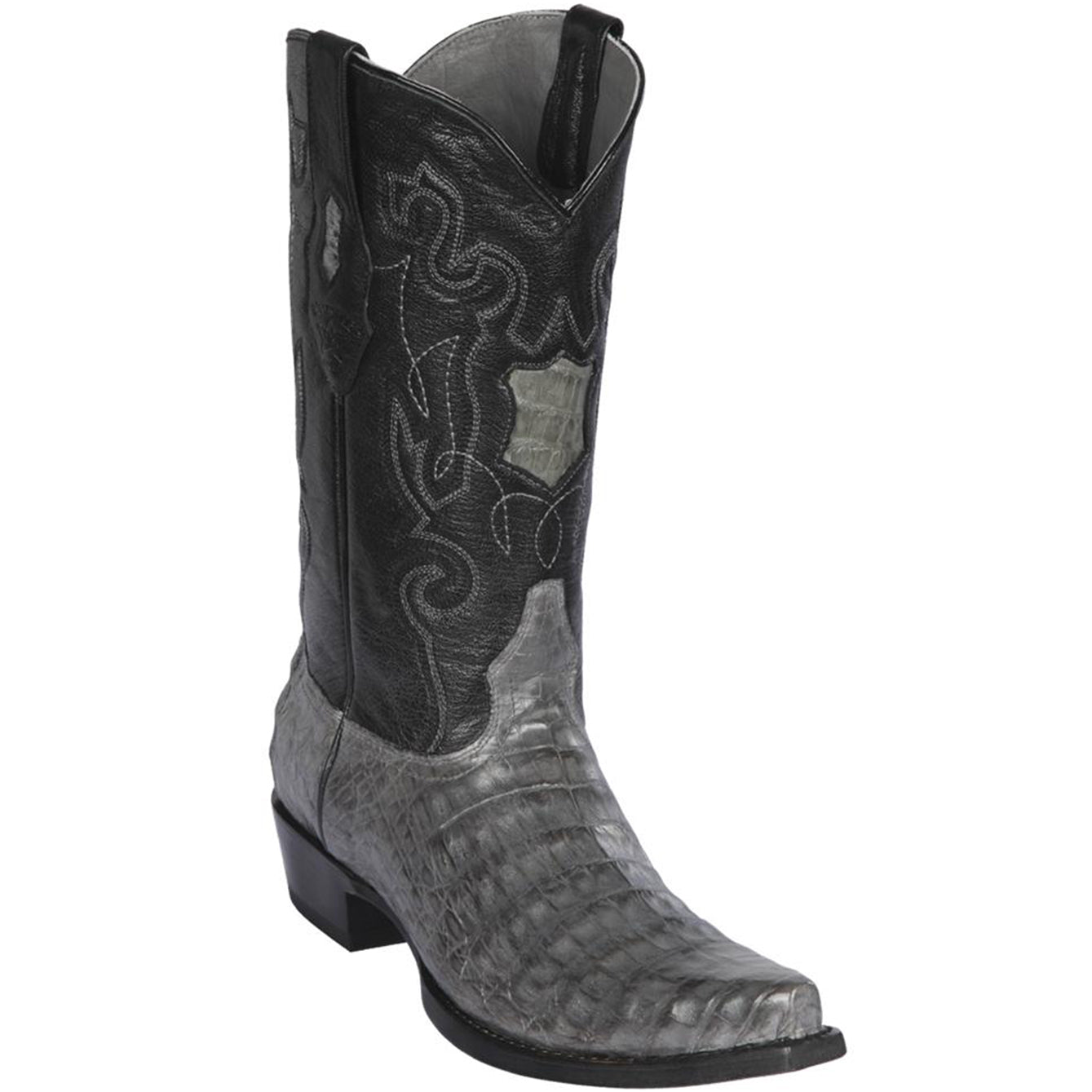 Gray Smooth Caiman Belly Snip Toe Cowboy Boot