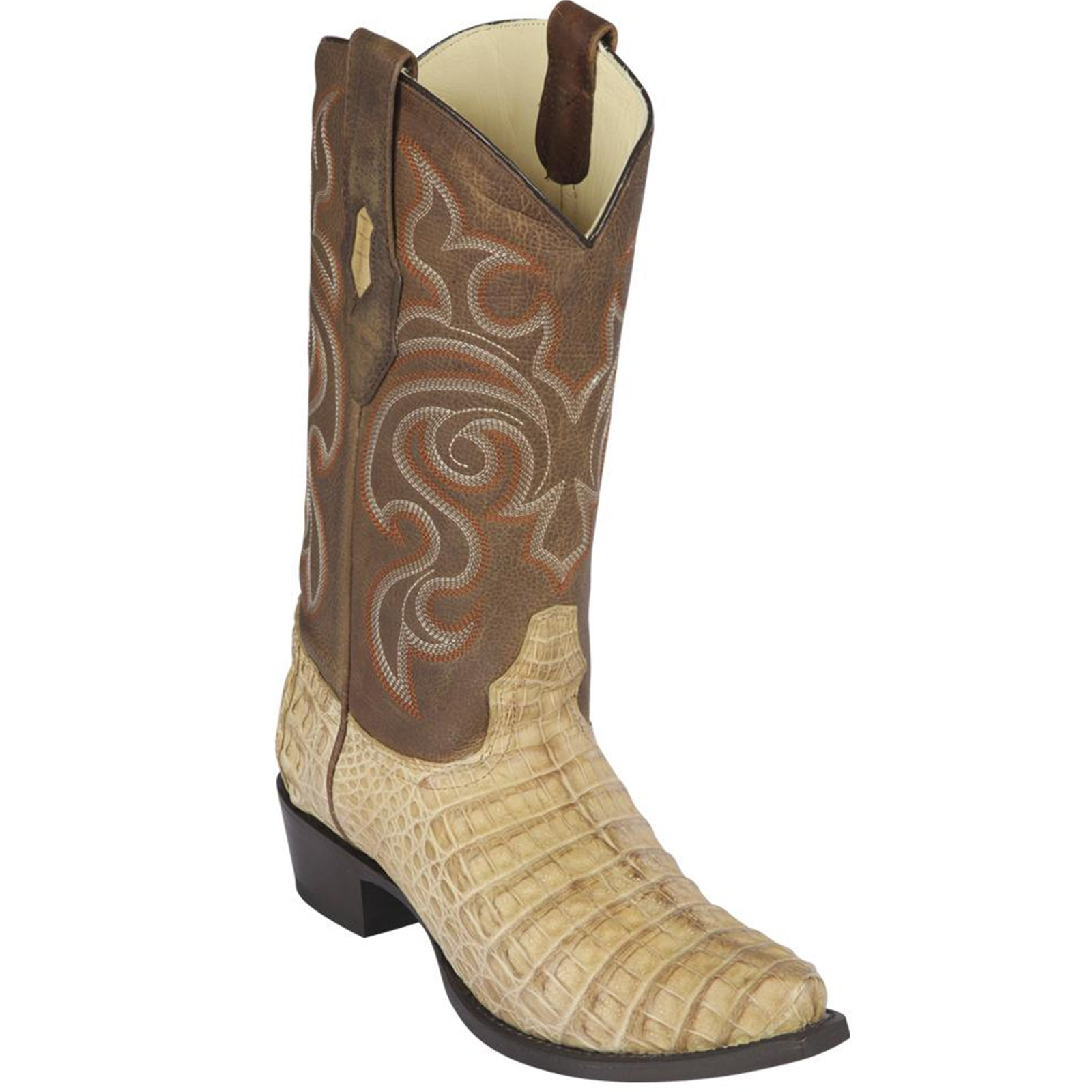 Los Altos Men's Miel Greasy Finish Caiman Belly Snip Toe Boot