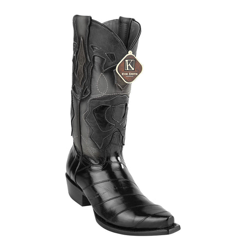 King Exotic Men's Eel Western Snip Toe Boot - VaqueroBoots.com - 2