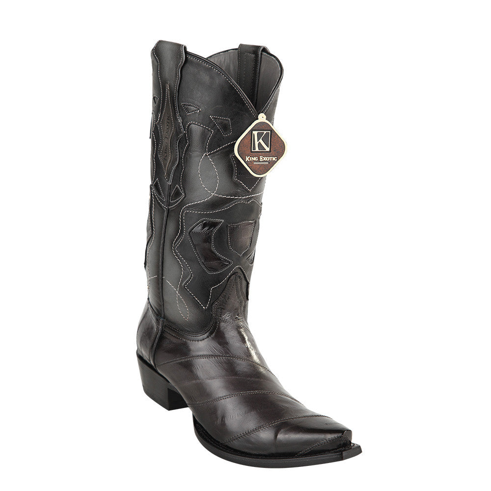 King Exotic Men's Eel Western Snip Toe Boot - VaqueroBoots.com - 4