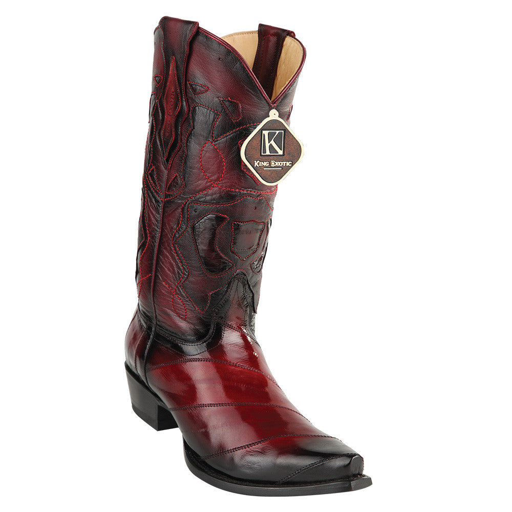 King Exotic Men's Eel Western Snip Toe Boot - VaqueroBoots.com - 1