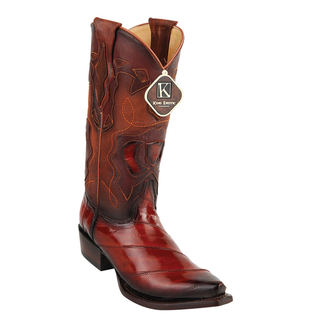 King Exotic Men's Eel Western Snip Toe Boot - VaqueroBoots.com - 5