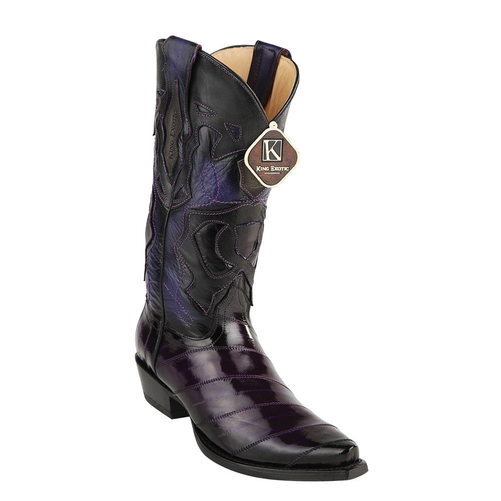 King Exotic Men's Eel Western Snip Toe Boot - VaqueroBoots.com - 3