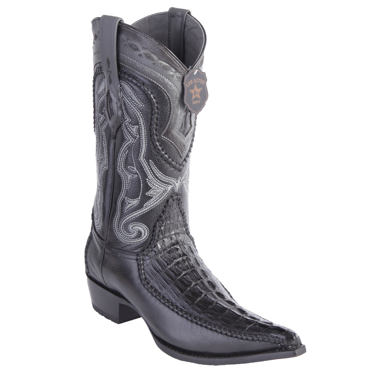 9e48e74dd92 Los Altos Boots Caiman Tail 3x Toe Stitched Boots - Black