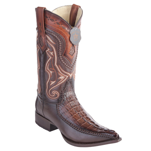 Los Altos Boots Caiman Tail 3x Toe Stitched Boots - Faded Brown